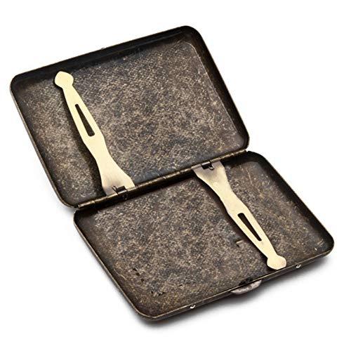 Pitillera HAOAYOU Caja de Regalo de 20 Palos con Clip de Hierro de Metal Estuche de Cigarrillo Antiguo Retro 9.5 * 8.2 * 1.8cm como se Muestra