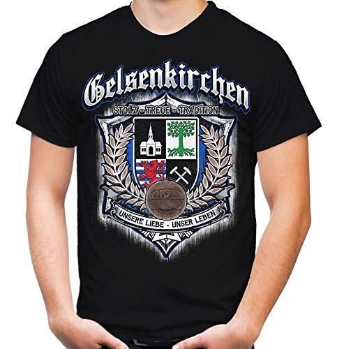 Für Immer Gelsenkirchen Männer und Herren T-Shirt | Sport Fussball Schalke 04 Knappen S04 Stadt Fan (3XL, Schwarz Druck: Bunt)