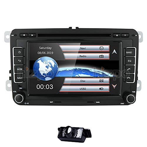 HIZPO 2 Din 7 pollici Touch Screen Lettore DVD Autoradio Naviceiver Compatibile con Jetta Golf Passat Supporto Navigazione GPS Bluetooth Funzione vivavoce Canbus Lettore CD DVD