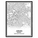 Ankara Truthahn Karte Wandkunst Leinwand drucken Poster