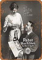 ホーム装飾記号贈り物1913パストブルーリボンビールレトロビンテージブリキサイン