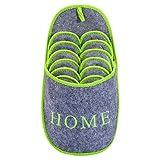 ONVAYA Zapatillas de huéspedes antideslizantes | conjunto de 6 | Zapatilla de fieltro | Inicio gris-verde Home