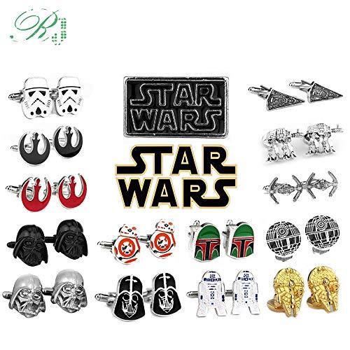 JWGD RJ Star Wars Manschettenknöpfe Falcon Darth Vader BB8 R2D2 Kämpfer Ritter Krawattenklammern Avengers Batman Manschettenknöpfe Männer Schmuck Geschenk (Metal Color : C05)