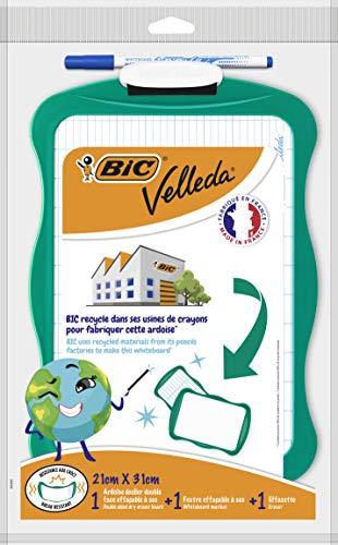 BIC Velleda Conjunto Pizarra Reciclada (21 x 31 cm)/Borrador/1 Marcador Borrado en Seco - Tinta Azul, Blíster de 3 Unidades