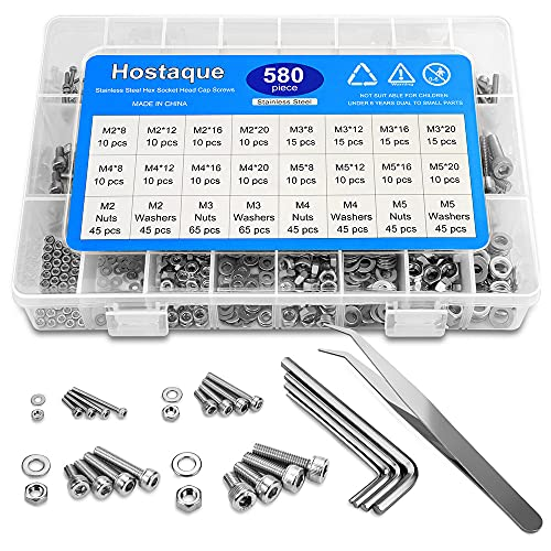 304 Stainless Steel Screws and Nuts Washers Assortment Kit, M2 M3 M4 M5 Hex Socket Head Cap Screws Nuts Set 580pcs with Storage Box, Four Hex Wrenches Included