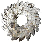 idyllic Champagne Magnolia Leaves Wreath 20 Inches Farmhouse Decoration Adjustable Vintage Front Door Wreath for Home Decor, Centerpiece