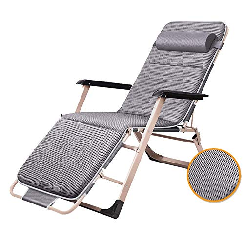 ZYYH Sillas de Patio reclinables Grises para Personas Pesadas, Tumbona Plegable portátil para terraza de jardín al Aire Libre, soporta 300 Libras (Color: con cojín Grueso)