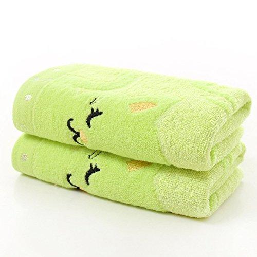 Zhouba Handtuch mit süßem Katzenmotiv, weich, wasserabsorbierend, für Zuhause, Baden und Dusche, Baumwolle, Bambusfaser., grün, Einheitsgröße