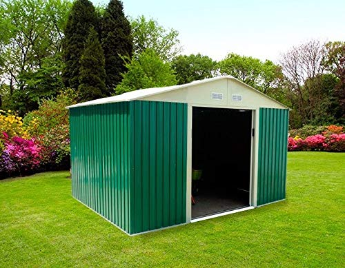 Gardiun KIS12804 - Caseta Metálica Bristol 7,74 m² Exterior 241x321x205 cm Acero Galvanizado Verde: Amazon.es ...