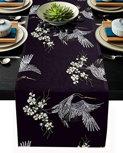 Runner da tavola in tela di lino, 33 x 304,8 cm, una gru rossa con zampe, fiori e ali che si alzano in piedi per la casa e la casa