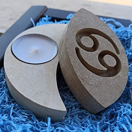 Krebs Sternzeichen Teelicht Kerzenhalter aus Stein - Handgemacht in Italien - Box, Teelicht Kerze und Nachrichtenkarte enthalten - Geschenkidee Geburtstag Juni Juli - Sternzeichen Wasser
