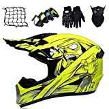 Casco de Motocross para Niños de 6 a 14 Años, Casco Protector de Integrales para MTB Downhill Quad Enduro, Casco de Moto con Gafas/Guantes/Máscara/Red de Bungy, Unisex - Amarillo