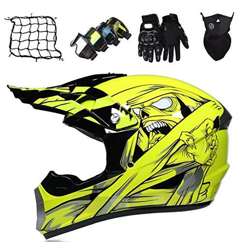 Casco Cruzado Moto para Niños Amarilla Casco MTB de Integral con Guantes/Gafas/Máscara/Red Elástica (5 piezas) Cascos de Motocross para Adultos para Scooter Chopper Quad