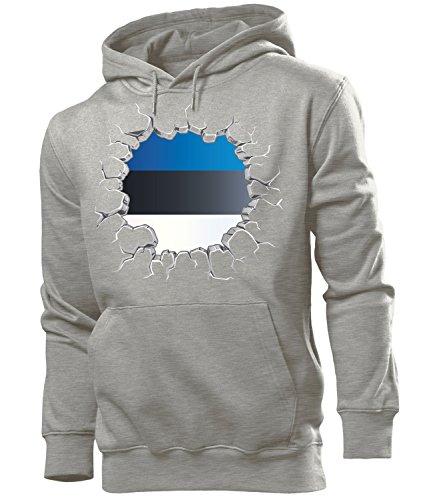 love-all-my-shirts Fussball Fanhoodie Estland 5701 Männer Herren Hoodie Pulli Kapuzen Pullover Fanartikel Grau L