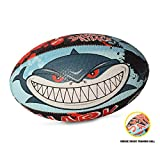 OPTIMUM Ballon de Rugby, Shark Attack, Taille 3 Unisex-Adult, Multicolore-Multicolore, 3