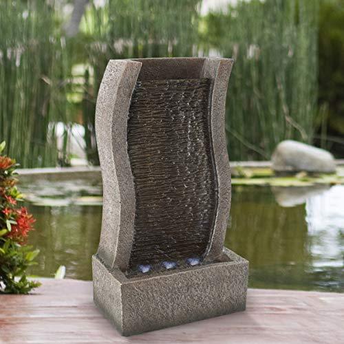 Pure Garden 50-LG1216 Stone Wall Standing Fountain-Polyresin Waterfall with LED Lights, Silver