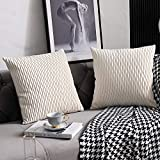 Fodere per Cuscino Divano Bianco Avorio: Confezione da 2 40 cm x 40 cm Quadrato in Velluto a Strisce Originale