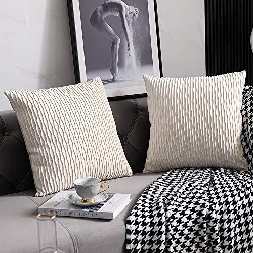 DEZENE Beige Couch Kissenbezüge: 2er Pack 40cmx40cm Original Gestreifte Samt SquarePillow Cases für Home Bedroom Decor