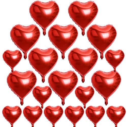 AONER 20 x Globos Metalicos de Corazón Rojo Helio para Boda y Fiesta 45cm 25cm (10pcs*10in + 10pcs*18in) con Cintas