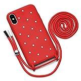 QULT Funda con Cuerda Compatible con iPhone XS, iPhone X Carcasa de movil con Colgante Cadena Suave Silicona Necklace Bumper Case Rojo Motivo Puntos Blancos