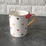 Moda Lindo Corazón Taza De Agua Taza De Cerámica con Tapa Cuchara Mango Personalidad Oficina En Casa Pareja Café Jugo Leche Tazas Set-3
