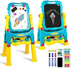 Tomons Art Easel for Kids, Double-Sided Magnetic Dry Erase Board and Chalk Board Adjustable Standing Kids Easel for Toddlers Boys and Girls