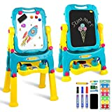 Tomons Adjustable Height Kids Easel, Double Sided Whiteboard & Chalkboard Standing Easel