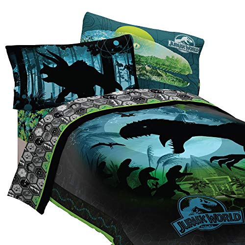 Jurassic World 5pc Full Comforter and Sheet Set Bedding Collection Blue, Green, Dark Blue, Dark Green Full