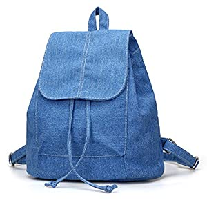 Denim Canvas Shoulder Bag Student Casual Backpack Jean Bag Drawstring Bag