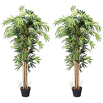 BestComfort 5ft Artificial Bamboo Tree Set of 2 Fake Greenery Plants in Pots for Indoor and Outdoor Beautiful Faux Tree with Leaves and Natural Trunk for Home Office Modern Decoration