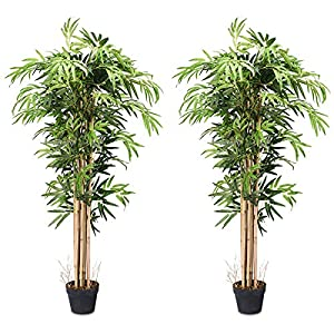 BestComfort 5ft Artificial Bamboo Tree Set of 2, Fake Greenery Plants in Pots for Indoor and Outdoor, Beautiful Faux Tree with Leaves and Natural Trunk for Home Office Modern Decoration