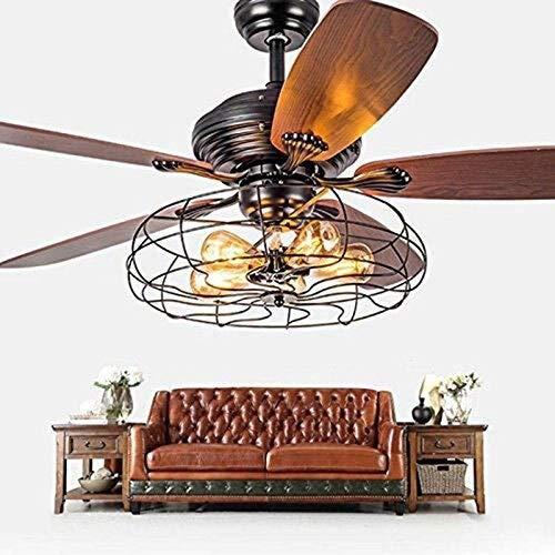 Pendiente lámpara ventilador industrial semi al ras techo luz restaurante Ventilador techo Lámpara suspensión lámpara antigua 5 luces paleta ventilador jaula colgante rústico luz través control remoto