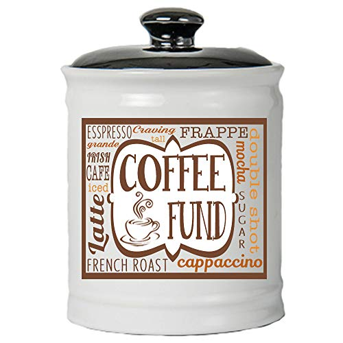 Cottage Creek Coffee Fund Jar | Coffee Jar with Black Lid | Coffee Gifts for Coffee Lovers | Coffee Money Piggy Bank [White]