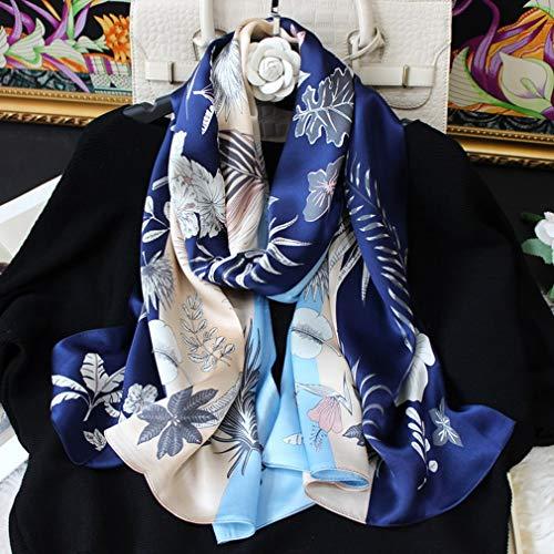 Anti allergie Zijden sjaal Dames Mode Dames 100% zijde Lange sjaals Zacht Zijdezacht Glad Huidvriendelijk Knus Sjaal Kaap om te reizen Partij Meisje Geschenk, 170 * 53cm,Blue