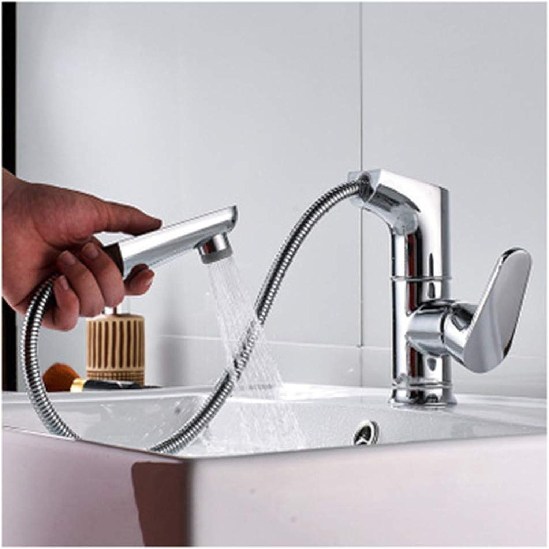 HLJ BST Einhandmischer Waschtisch Armaturen Badezimmer Mit Herausziehbarer Dual-Spülbrause Hei Und Kalt Mischbatterie,Keramikventil,Messing,Moderner Stil