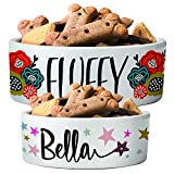Personalized Ceramic Pet Bowls | Customizable 14 Designs w Your Pet's Name | 6 inches - Custom Pet Bowls for Dog, Cat, Puppy or Kitten - Dish for Dry, Wet Food or Water - Pet Owner Gifts