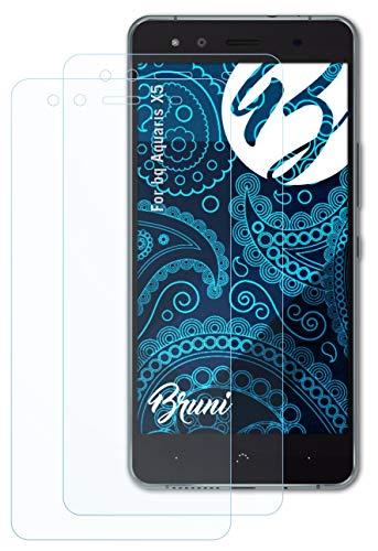 Bruni Schutzfolie kompatibel mit bq Aquaris X5 Folie, glasklare Bildschirmschutzfolie (2X)