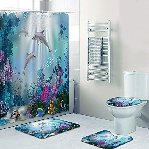 Fgolphd Duschvorhang 180x200180x180 Fische Strand Bunt Badezimmerteppich 4-teiliges Set, Shower CurtainsMachen Sie Ihr Badezimmer lebendiger (180 x 200 cm,12)