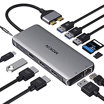 MacBook Pro Docking Station Dual Monitor MacBook Pro HDMI Adapter,12 in 1 USB C Adapters for MacBook Pro Air Mac HDMI Dock Dongle Dual USB C to Dual HDMI DP Ethernet AUX 4USB SD/TF100W PD