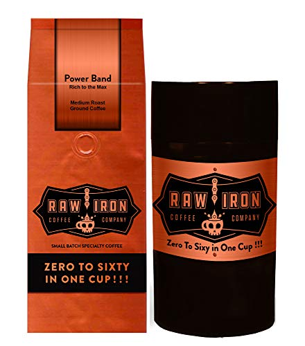 ground coffee storages Extra Strong Ground Gourmet High Caffeine Coffee Power Band High Grade Rich Bold Sumatra Gayo Mountain Arabica Blend Small Batch 12oz Bag with Tight Vac Storage Container by Raw Iron Coffee Company