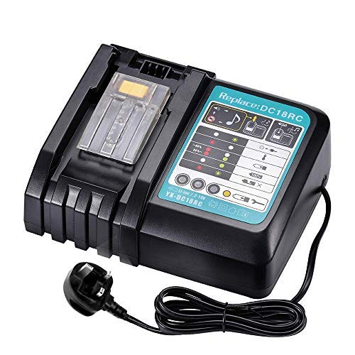 6A 18V Battery Replacement Charger for Makita DC18RC with LED Indicator, Fit for Makita 14.4V - 18V Lithium-ion LXT Battery BL1850B BL1860 BL1830 BL1840 BL1815 BL1430 Fast Charger