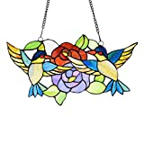 stained glass birds window panel - Capulina Lighting Tiffany Style Glass Window Panel W18 x H25 inch Stained Glass Rose with Birds Decorative Art Glass Panel Hanging Suncatcher for Wall or Window CL164328GP