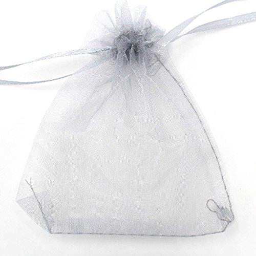 Smiti オーガンジー 巾着袋 ジュエリー 小物 収納袋 プレゼント ラッピング 20X30cm グレイ