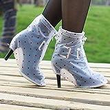 KWERSBD 1 Juego de Botas de Lluvia de tacón Alto, cubrezapatos de Plataforma para Mujer-White Wave Point-XL