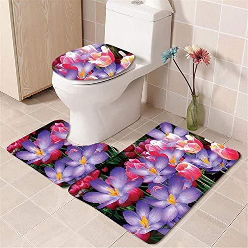 Patrón Abstracto Floral Colorido Impresión 3D Calidad DE RESIDUOS DE Ropa DE Tres Pieza-C5 Alfombra de Baño de Espuma Viscoelástica Cómoda y Transpirable