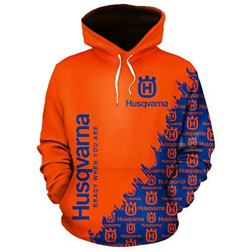 NISHUSHANW 3D Drucken Hoodies,Jacke Leicht Sweatshirt Zum Husqvarna Unisex Herren Beiläufig Sportkleidung Lose / Orange1 / 2XL