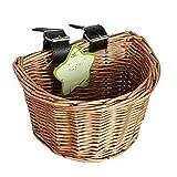 Quitd Rattan-Fahrradkorb, handgefertigt, künstlicher Weidenkorb, geflochtener Fahrradkorb für Kinder Jungen Mädchen Fahrrad