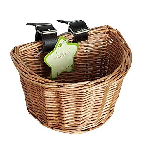 Quitd Fahrradkorb aus Korbgeflecht, handgefertigt, Flechtmaterial, Fahrradkorb für Lenkervorne, Rattankorb für Kinder-, Jungen-, Mädchen-Fahrrad