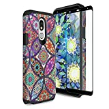 TJS Phone Case Compatible with LG K40/K12 Plus/X4/Solo LTE/Harmony 3/Xpression Plus 2, [Full Coverage Tempered Glass Screen Protector] Dual Layer Hybrid Shockproof Cover (Colorful Mandala)