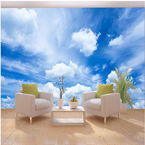 Wuyii Hd blauwe hemel witte wolken klassiek fotobehang woonkamer restaurant modern eenvoudige interieur 3D stereo Mural behang 400 x 280 cm.